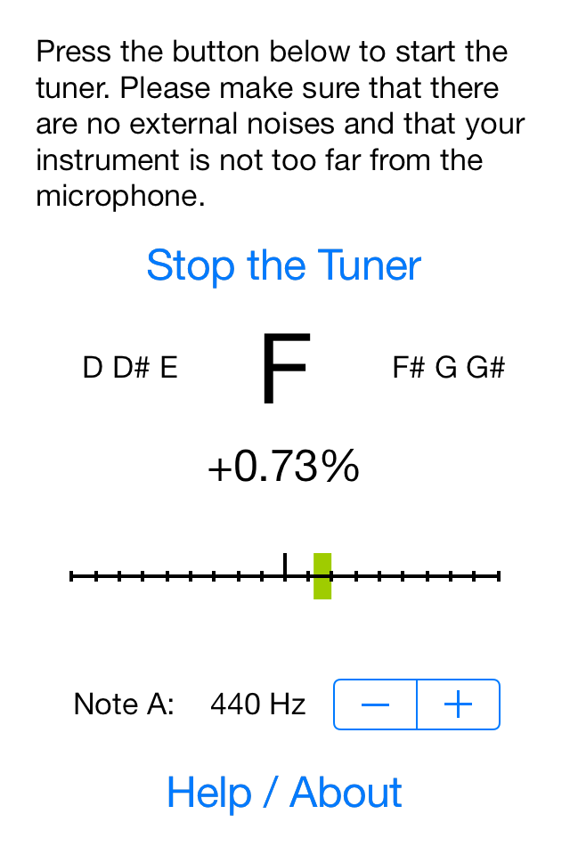mobile chromatic instrument tuner by efrac - second screenshot